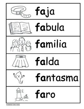 Letra Ff Kinder Bilingual SLA Tesoros' Literacy Centers (3 sets)