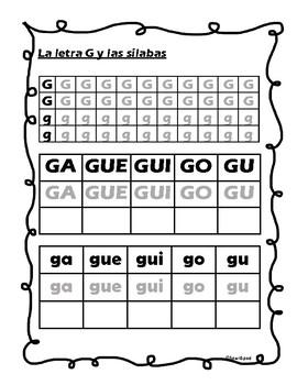 Letra G y las silabas