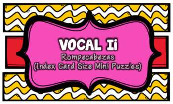 Letra I Index Cards Vocabulary Puzzles (Rompecabezas)