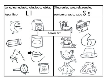 Letra L & S Sound Sorting & Categorizing worksheet Cscope Common Core