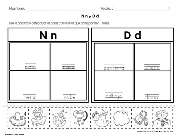 Letra  N & D Sound Sorting & Categorizing WkSts (4 pgs)