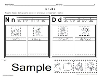 Letra  N & D Sound Sorting & Categorizing WkSts (4 pgs) C-