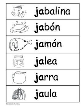 Letra Jj  Kinder Bilingual SLA Tesoros' Literacy Centers (3 sets)