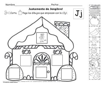 Letra Jj set of Initial sound Spanish Worksheets  SLA