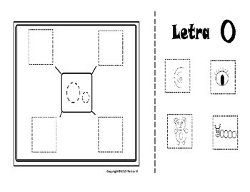 Letra O Initial Sounds Graphic Organizer Color , Cut and Paste