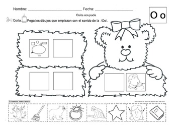 Letra Oo Set Of Initial Vowel Sound Worksheets Sla By Abc Bilingual