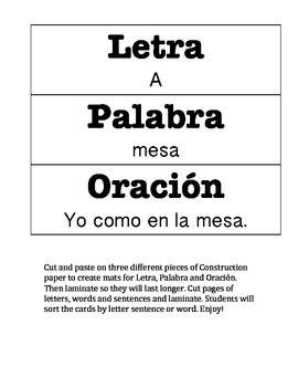 Letra, Palabra, Oracion Sorting