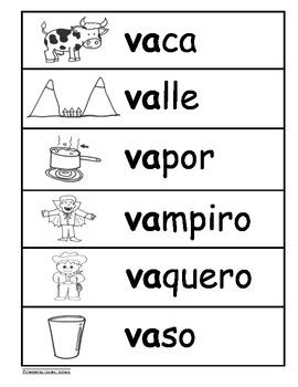 Letra Vv Kinder Bilingual SLA Tesoros' Literacy Centers (3 sets)