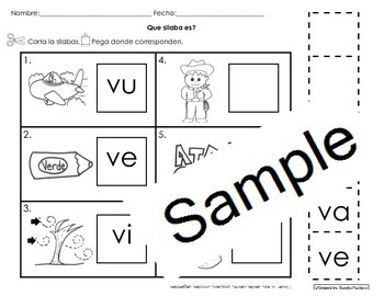 Letra Vv Silabas Activities Bundle Pack Cscope Common Core