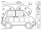 Letra Vv set of Initial sound Worksheets SLA common core/Cscope