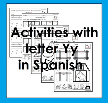 Letra Yy set of Initial sound worksheets SLA Enrichment activities