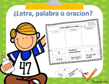 Letra, palabra o oracion? For beginning writers!