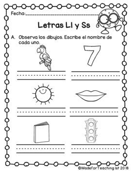 Letras L l y S s - Hojas de Tarea