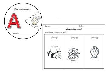 Letras del Alfabeto Spanish (25) Circles and drawing activities bundle Cscope CC