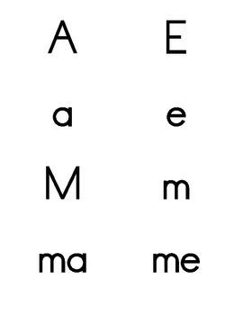 Letras, silabas y palabras de uso frecuente. Flashcards.
