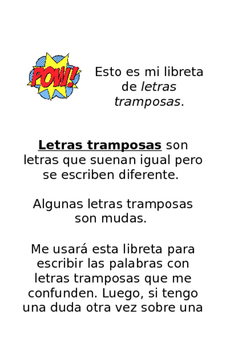 Letras tramposas libreta/ Tricky Letter Booklet in Spanish