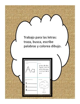 Letras: trazar, buscar, escribir, colorear Spanish