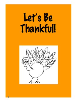 """""""Let's Be Thankful"""" Thanksgiving Activity"""