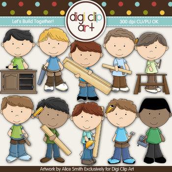 Let's Build Together! -  Digi Clip Art - CU Clip Art