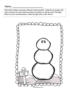 Lets Build a Snowman Base Ten Blocks