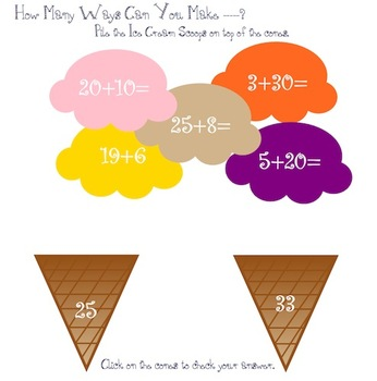 Lets Build an Ice Cream Cone - Addition & Subtraction Skills