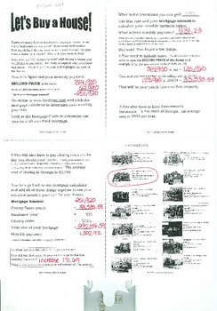 Let's Buy A House Math Challenge Project Answer Key