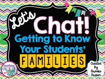 """Let's Chat!"" FREE Resources for Getting to Know Your Students' Families"