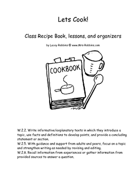 lets cook make a class recipe book lessons plus food s more by