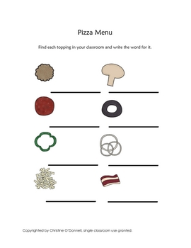 Let's Create A Pizza: listening, sequencing, vocab, visual disc. +more