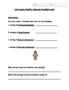 (Serving Size) Let's Create a Healthy Balanced Meal - worksheet