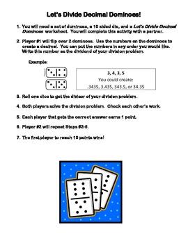 Let's Divide Decimal Dominoes (Dividing Decimals)