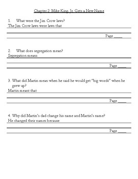 Let's Dream, Martin Luther King, Jr.! by Roop, Comprehension Questions