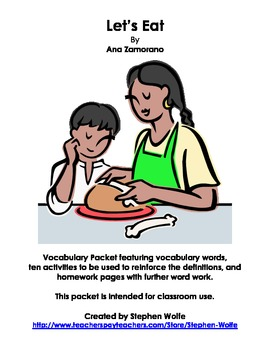 Let's Eat Vocabulary Work