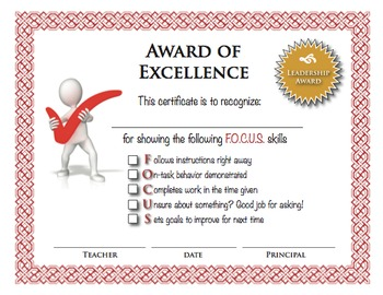 Let's F.O.C.U.S! Certificate and Checklist (Classroom Management)