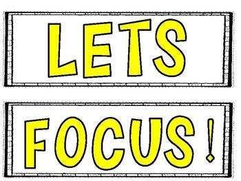 Lets Focus! Classroom Management Pocket Chart Activity