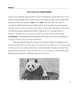 Animal GIANT PANDAS Worksheet w/ 14 Reading Comprehension/Vocab Multiple Choice