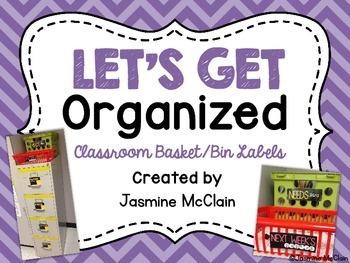 Let's Get Organized! Classroom Basket/Bin Labels