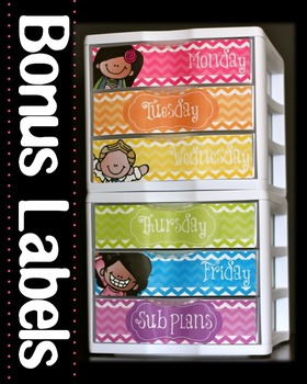 Teacher Toolbox Labels and Sterilite Drawer Labels { Chevron-No Clip Art}