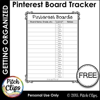 Let's Get Organized! Pinterest Board Quick Reference Sheet