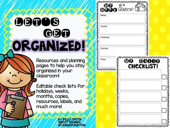 Let's Get Organized! Planning Resources, Labels, and Check Lists