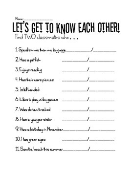 Let's Get To Know Each Other!