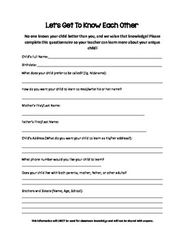 Let's Get To Know Each Other child and family questionnaire