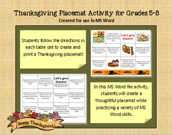 """Let's Give Thanks"" Placemat Activity for Grades 4-8"