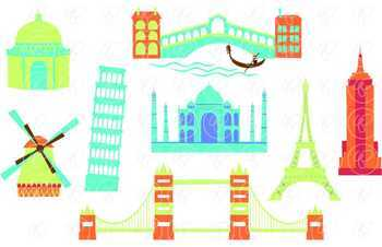 Let's Go Abroad! World Landmark (Set 01) Clipart by Poppydreamz
