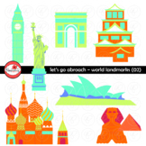 Let's Go Abroad! World Landmark (Set 02) Clipart by Poppydreamz