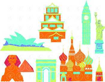Let's Go Abroad! World Landmark (Set 02) Clipart by Poppydreamz