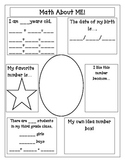 Let's Go Back to School: Math About Me!  Third Grade