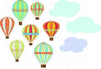 Let's Go Ballooning! Hot Air Balloon Clipart by Poppydreamz