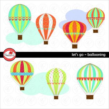 Let's Go Ballooning! Hot Air Balloon Clipart by Poppydreamz