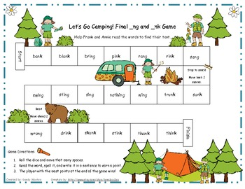 Let's Go Camping! Final _ng and _nk Literacy Station Word Game RF.1.3, RF.2.3